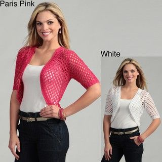 Requirements Womens Crocheted Cropped Cardigan
