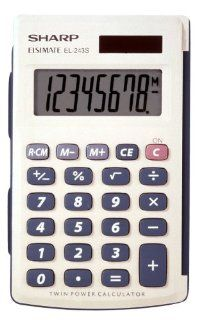 Sharp Electronics EL243SB 8 Digit Twin Powered Calculator