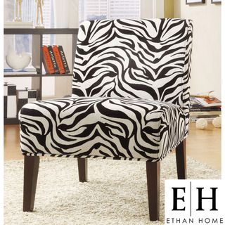 ETHAN HOME Decorative Zebra Print Armless Lounge Chair