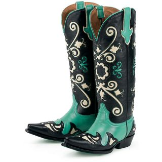 Lane Boots Womens Ashlee Lace Turquoise Leather Cowboy Boots