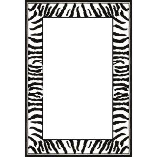 Lyndhurst Collection Zebra Border Black/ White Rug (9 x 12