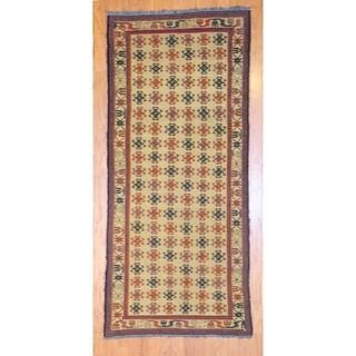 Afghan Hand knotted Tribal Soumak Gold/ Black Wool Rug (33 x 73