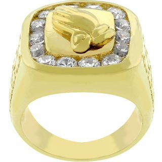 Kate Bissett 14k Gold Bonded CZ Praying Hands Ring