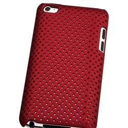Red Rubber Coated Case for Apple iPod touch 4th Gen