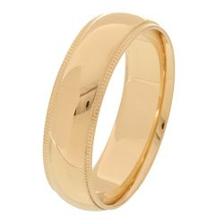10k Yellow Gold Mens Milligrain 6 mm Wedding Band