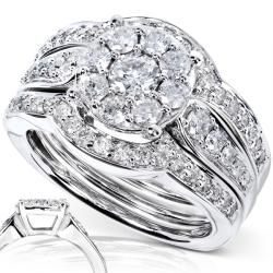 14k White Gold 1ct TDW 3 piece Diamond Bridal Rings Set (H I, I1 I2