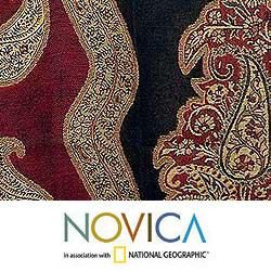 Jamawar Wool Paisley Modern Shawl (India)