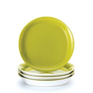 Rachael Ray Round and Square 4 piece Green Apple Salad Plate Set