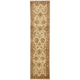 Pakistani Hand knotted Peshawar Ivory/ Beige Wool Rug (26 x 10
