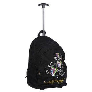 Ed Hardy Brad Butterflies 17 inch Rolling Backpack