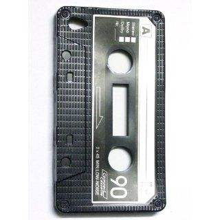 BLACK Cassette Tape Design Flexi Gel TPU Silicone Skin Case Cover for