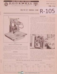 Rockwell Dela Operaion Pars Liss PM 1765 10 Inch Radial Saw Manual