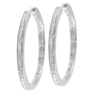 Sterling Silver 3/4ct TDW Diamond Hoop Earrings (I J, I2 I3