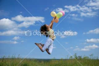 Happy woman flying with balloons  Stock Photo © Tatjana Kruusma