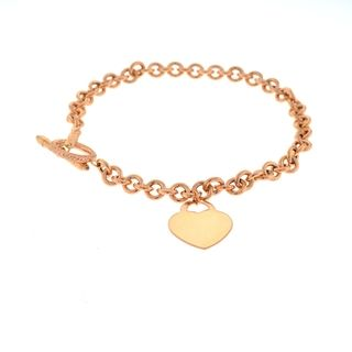 Beverly Hills Charm 14k Rose Gold Heart Charm 7.5 inch Bracelet