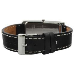 Peugeot Womens Silvertone Black Leather Strap Watch