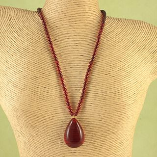 Hand tied Ruby Red Baltic Amber Nuggets Necklace (Lithuania