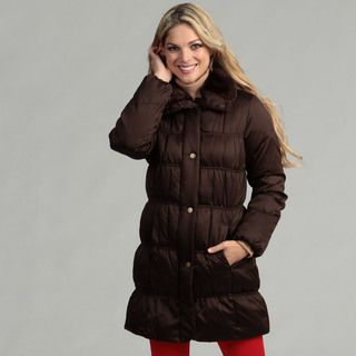 Larry Levine Womens Down Jacket With Faux Fur Trim Collar