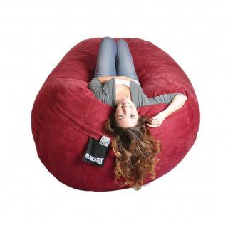 6 Feet Cinnabar Red Microfiber SLACKER sack Foam Bean Bag