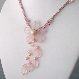 Rose Quartz Silk Thread Flower Necklace (3 5 mm)(Thailand)