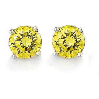 14k White Gold 1 5/8ct TDW Canary Diamond Earrings (VS1 VS2