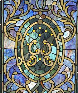 Tiffany style Purple Wooden Frame Window Panel