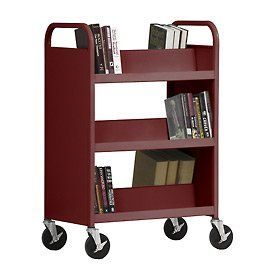 Double Sided Slant 6 Shelf Steel Book Cart   37Lx18Wx42