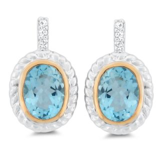 Meredith Leigh Sterling Silver and 14k Gold Blue/ White Topaz Earrings