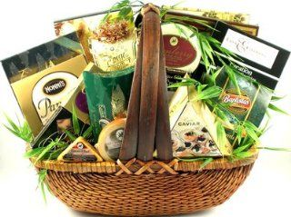 The Finer Things Gourmet Snack Food Basket   Includes Cheeses, Caviar