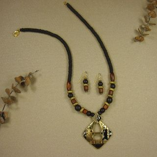 Jewelry by Dawn Antique Gold Pewter With Wood Necklace And Earring Set
