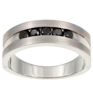Black Sterling Silver Mens 1ct TDW Black Diamond Ring