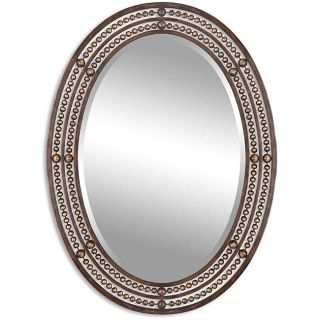 Matney Distressed Bronze Metal Oval Framed Mirror Today $215.60 3.8