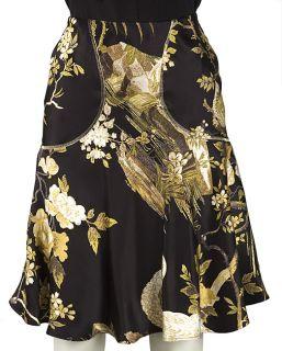 Roberto Cavalli Floral Print Silk Skirt