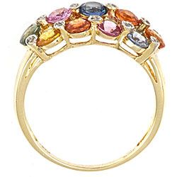 Yach 14k Yellow Gold Multi colored Sapphire and Diamond Ring
