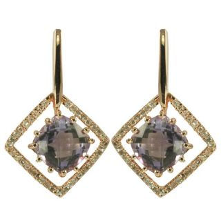 Gems For You 10k Rose Gold Amethyst and Diamond Accent Earrings