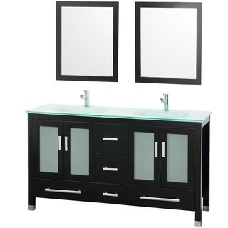 Mary 60 inch Espresso Double Bathroom Vanity Set
