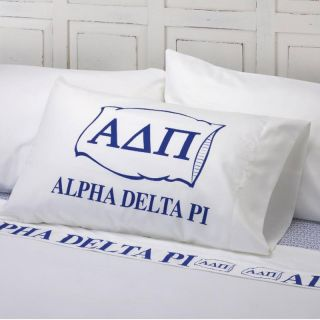 Excel Alpha Delta Pi Cotton Sateen 400 Thread Count Sheet Set