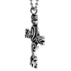 Journee Collection Stainless Steel Filigree Cross Necklace