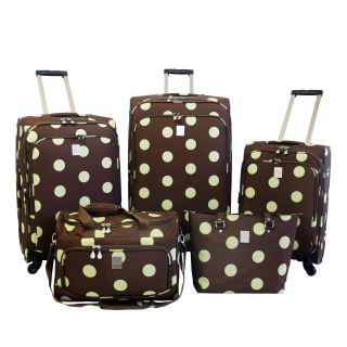 Jenni Chan Dots Brown / Green 5 piece Spinner Luggage Set Today $244