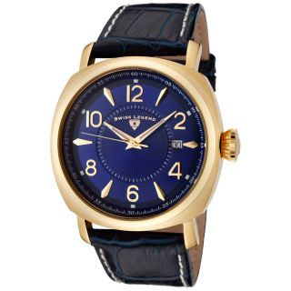 Swiss Legend Mens Executive Dark Blue Leather Watch