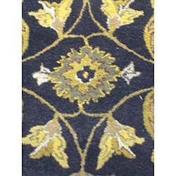 Indo Hand tufted Kashan Black Wool Rug (8 x 10)