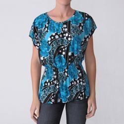 Happie Brand Womens Jewel Neck Stretch Knit Top