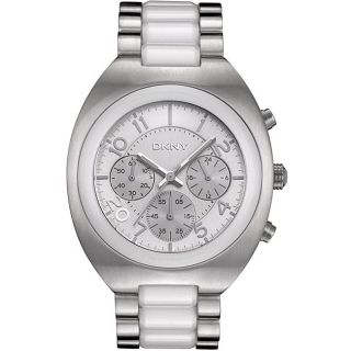 DKNY Womens Chronograph Stainless Steel/White Ceramic Watch