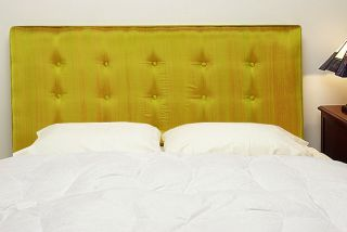 Chartreuse Silk Upholstered Queen size Headboard