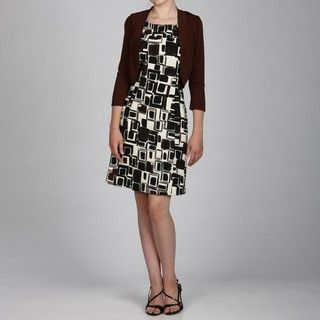 Jessica Howard Womens 2 Piece Geometric Print Dress