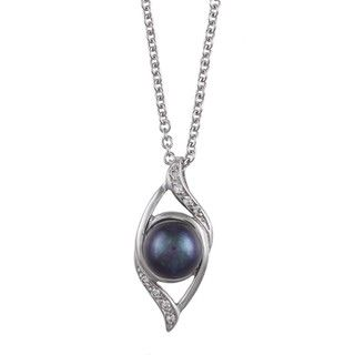 Sterling Silver Black Pearl and Cubic Zirconia Necklace (7 8mm