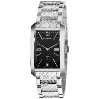 Burberry Mens Check Engraved Stainless Steel Watch