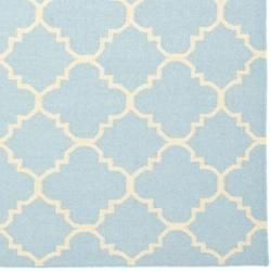 Moroccan Light Blue/ Ivory Dhurrie Wool Rug (9 x 12)