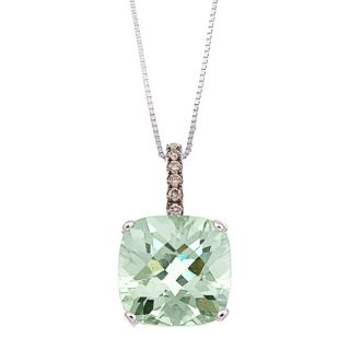 14k White Gold Green Amethyst and 1/10ct TDW Brown Diamond Necklace