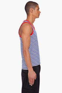 Y 3 Navy And White Striped Border Tank for men
